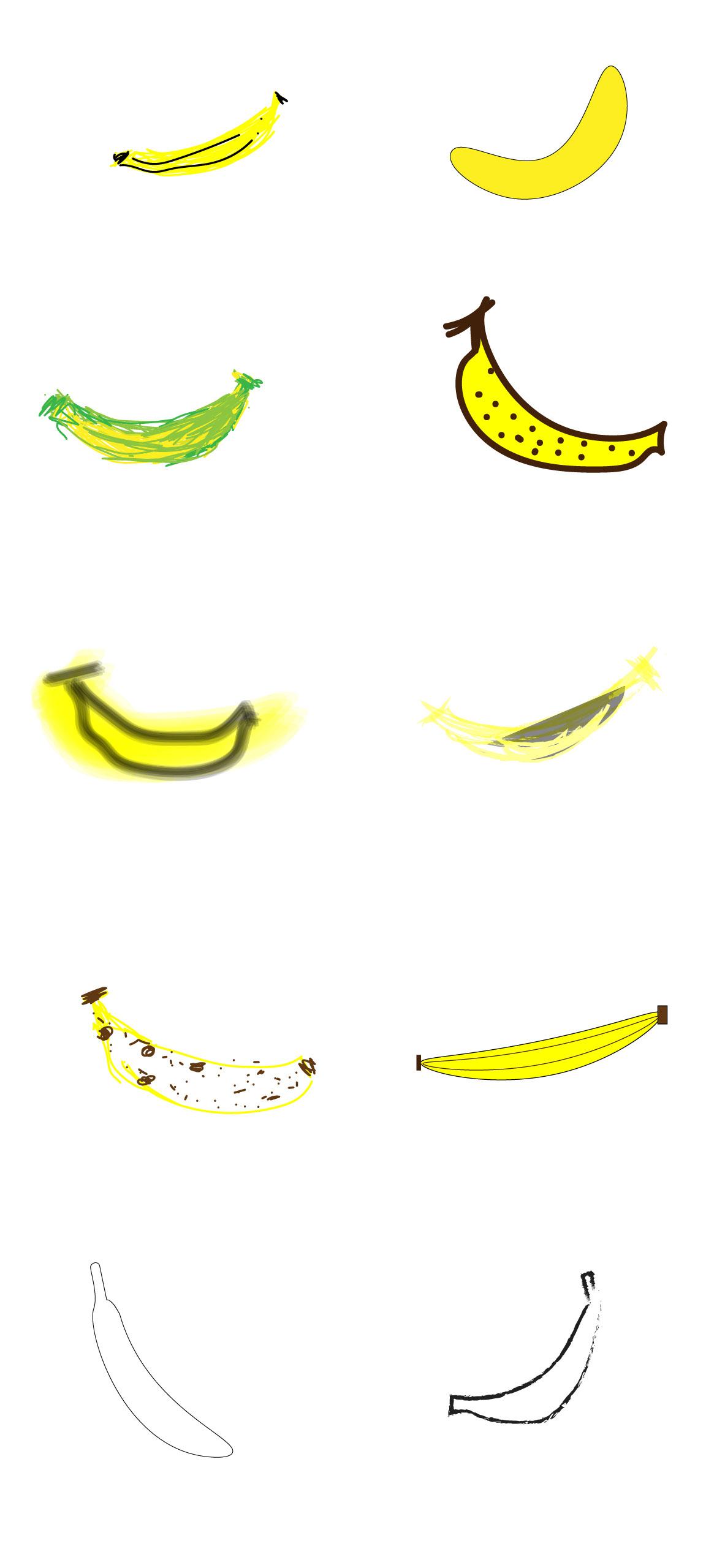 Illustrations of bananas