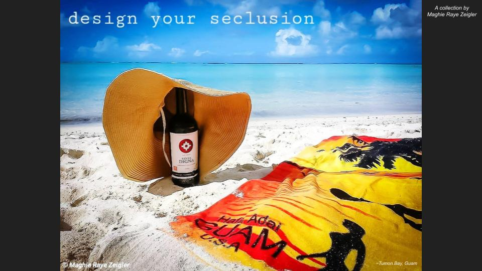 Tropical beach with wine bottle, hat, and towel to show seclusion